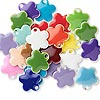 Drop mix, epoxy and silver-plated brass, mixed colors, 10x10mm double-sided flower. Sold per pkg of 40.