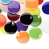 Drop mix, epoxy and silver-plated brass, mixed colors, 12mm double-sided round. Sold per pkg of 40.