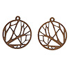 Drop, wood (natural), 19mm single-sided left- and right-facing flat round with cutout branches design. Sold per pkg of 2.
