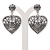 "Earring, antiqued silver-finished ""pewter"" (zinc-based alloy) and steel, 45x28mm fancy heart with PP8 and PP6 chaton settings with post. Sold per pair."