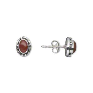 Earring, carnelian (dyed / heated) and antiqued sterling silver, 9mm with 7x5mm oval and post. Sold per pair.