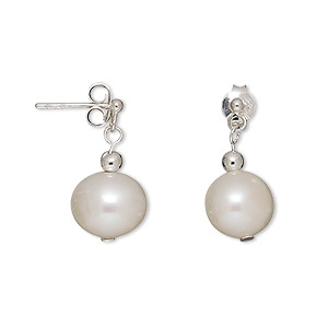Earring, cultured freshwater pearl (bleached) and sterling silver, white, 17mm with 9mm semi-round and post. Sold per pair.