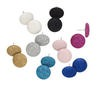 Earring mix, fabric, multicolored, 19mm round posts. Sold per pkg of 8 pairs.