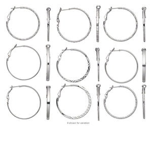 Earring mix, nickel-finished steel, 40mm round hoop with latch-back. Sold per pkg of 3 pairs.