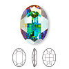 Embellishment, Swarovski crystal rhinestone, Crystal Passions®, crystal AB, foil back, 30x22mm faceted oval fancy stone (4127). Sold per pkg of 4.