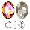 Embellishment, Swarovski crystal rhinestone, Crystal Passions®, crystal astral pink, foil back, 30x22mm faceted oval fancy stone (4127). Sold per pkg of 4.