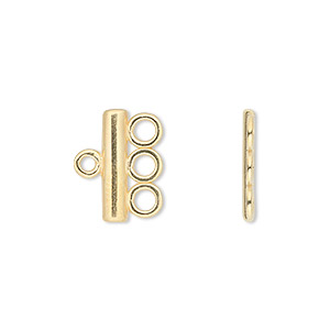 End bar, JBB Findings, gold-plated pewter (tin-based alloy), 15.5x3.5mm single-sided bar with 3 loops. Sold per pkg of 2.