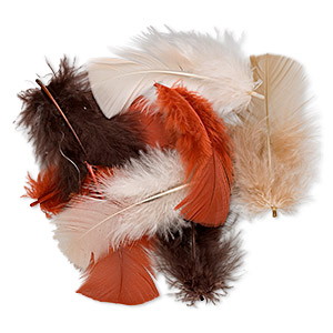 Feather mix, turkey (dyed), fall colors, 2-5 inches. Sold per 0.5-ounce pkg, approximately 170 feathers.