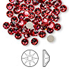 Flat back, Swarovski crystal rhinestone, Crystal Passions®, Indian pink, foil back, 4.6-4.8mm Xilion rose (2058), SS20. Sold per pkg of 144 (1 gross).