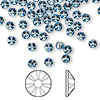 Flat back, Swarovski crystal rhinestone, Crystal Passions®, aquamarine, foil back, 3.8-4mm Xilion rose (2058), SS16. Sold per pkg of 144 (1 gross).