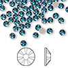 Flat back, Swarovski crystal rhinestone, Crystal Passions®, blue zircon, foil back, 3.8-4mm Xilion rose (2058), SS16. Sold per pkg of 144 (1 gross).