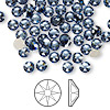Flat back, Swarovski crystal rhinestone, Crystal Passions®, denim blue, foil back, 4.6-4.8mm Xilion rose (2058), SS20. Sold per pkg of 144 (1 gross).