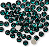 Flat back, Swarovski crystal rhinestone, Crystal Passions®, emerald, foil back, 4.6-4.8mm Xilion rose (2058), SS20. Sold per pkg of 144 (1 gross).