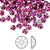 Flat back, Swarovski crystal rhinestone, Crystal Passions®, fuchsia, foil back, 4.6-4.8mm Xilion rose (2058), SS20. Sold per pkg of 144 (1 gross).