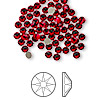 Flat back, Swarovski crystal rhinestone, Crystal Passions®, light Siam, foil back, 3-3.2mm Xilion rose (2058), SS12. Sold per pkg of 144 (1 gross).