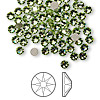 Flat back, Swarovski crystal rhinestone, Crystal Passions®, peridot, foil back, 3-3.2mm Xilion rose (2058), SS12. Sold per pkg of 144 (1 gross).