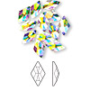 Flat back, Swarovski crystal rhinestone, crystal AB, foil back, 10x6mm faceted rhombus (2709). Sold per pkg of 144 (1 gross).