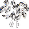Flat back, Swarovski crystal rhinestone, crystal clear, foil back, 13x8mm faceted rhombus (2709). Sold per pkg of 12.
