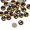 Flat back, Swarovski crystal rhinestone, light Colorado topaz, foil back, 7.07-7.27mm Xilion rose (2058), SS34. Sold per pkg of 144 (1 gross).