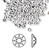 Flat back, Swarovski hotfix crystal rhinestone, Crystal Passions®, crystal clear, foil back, 3-3.2mm Xilion rose (2038), SS12. Sold per pkg of 144 (1 gross).