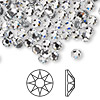 Flat back, Swarovski hotfix crystal rhinestone, Crystal Passions®, crystal clear, foil back, 4.6-4.8mm Xilion rose (2038), SS20. Sold per pkg of 144 (1 gross).
