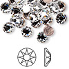 Flat back, Swarovski hotfix crystal rhinestone, Crystal Passions®, crystal clear, foil back, 7.1-7.3mm Xilion rose (2038), SS34. Sold per pkg of 12.