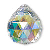 Focal, German crystal, clear AB, 35x30mm top-drilled faceted round teardrop. Sold per pkg of 30.
