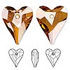 Focal, Swarovski crystal, crystal copper, 37x30mm faceted wild heart pendant (6240). Sold per pkg of 6.