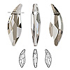 Focal, Swarovski crystal, crystal satin, 45x15mm faceted lily (6904). Sold per pkg of 6.