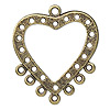 Focal, antiqued brass-finished pewter (tin-based alloy), 34x34mm heart, 7 loops and 18 holes. Sold per pkg of 10.