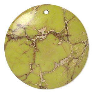 Focal, magnesite (dyed / stabilized), light lime green, 40mm hand-cut round with flat back, B grade, Mohs hardness 3-1/2 to 4. Sold individually.