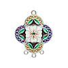 Focal, sterling silver with cloisonné, multicolored, 30x25mm flower with 3-loops. Sold individually.