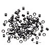 Hair crimp, aluminum and silicone, black, 5mm round tube with 3mm hole. Sold per pkg of 100.
