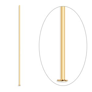 Headpin, gold-plated brass, 1-1/2 inches, 24 gauge. Sold per pkg of 500.