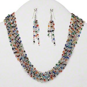 Necklace and earring multi strand silver finished iron for Jewelry just for fun