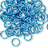 Jumpring, aluminum, light blue, 8mm smooth round, 16 gauge. Sold per pkg of 100.
