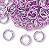 Jumpring, aluminum, light purple, 10mm smooth round, 14 gauge. Sold per pkg of 100.