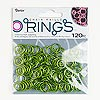 Jumpring, aluminum, olivine green, 12-13mm round, 14 gauge. Sold per pkg of 120.