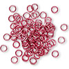 Jumpring, aluminum, red, 4.5mm smooth round, 20 gauge. Sold per pkg of 100.