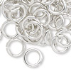 Jumpring, aluminum, silver, 12mm smooth round, 12 gauge. Sold per pkg of 100.