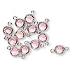 Link, Swarovski crystal and silver-plated brass, light rose, 6.14-6.32mm faceted round, SS29. Sold per pkg of 48.