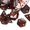 Link and drop mix, Blue Moon Beads®, Chinese mussel shell (dyed/coated), dark brown, 14x8mm flat rectangle, 14x14mm flat flower and 15x15x15mm flat triangle. Sold per pkg of 36 pieces.