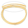 Memory wire, gold-finished stainless steel, 2-1/4 inch bracelet, 0.6-0.75mm thick. Sold per 1-ounce pkg, approximately 50 loops.