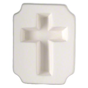 Mold, ceramic, white, (1) 72x52mm flat-sided cross, 4x3 inches overall. Sold individually.