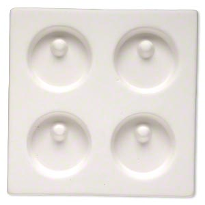 Mold, ceramic, white, (4) 47mm flat-sided round pendant, 5-3/4 x 5-3/4 inches overall. Sold individually.