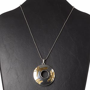 "Necklace, gold- and antiqued silver-finished ""pewter"" (zinc-based alloy) with antiqued silver-finished brass, 48mm round donut with dragonfly design, 32 inches with ball chain connector. Sold individually."