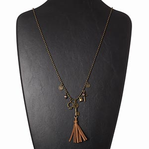 "Necklace, imitation suede / Czech glass rhinestone / copper-coated plastic / antique gold-finished ""pewter"" (zinc-based alloy) / antique brass-finished steel and brass, brown, tassel, 31 inches with 2-inch extender and lobster claw clasp. Sold individually."