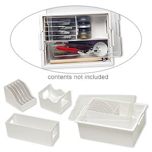 Organizer, Tool & Spool Bin™, Bead Storage Solutions™, plastic, clear and opaque off-white, 13-3/4 x 10-1/2 x 5 inches with removable caddies. Sold per 5-piece set.