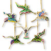 Ornament, cloisonné, multicolored, 2-3/4 x 2-1/2 x 1-1/2 inch hummingbird. Sold per set of 6.
