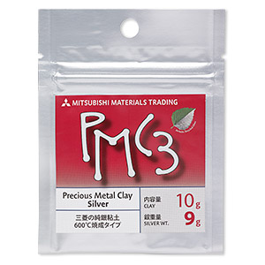 PMC3™ Precious Metal Clay, silver. Sold per 9-gram pkg.